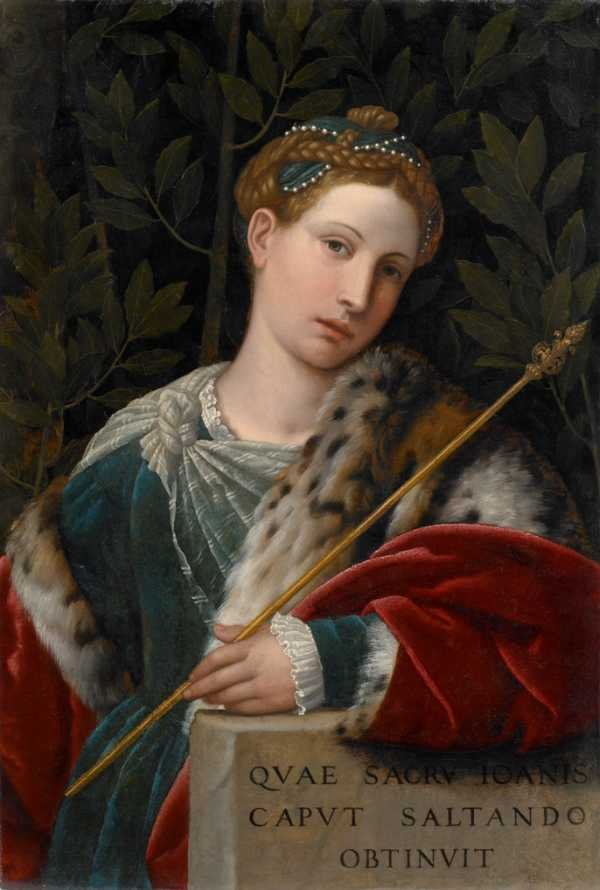 Alessandro Bonvicino zw. Moretto (Brescia ok. 1498 - Brescia 1554)Portret damy jako Salome (Tullia d'Aragona jako Salome), ok. 1537olej, deska, 56,5 × 38 cm, na marmurowej płycie: QVAE SACRV(M) IOAN(N)IS / CAPVT SALTANDO / OBTINVIT / Pinacoteca Tosio Martinengo, Brescia, nr inw. 81