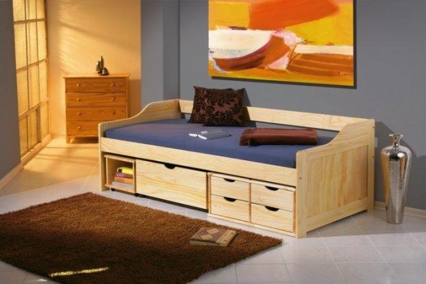 Łóżko z wbudowanymi schowkami do przechowywania