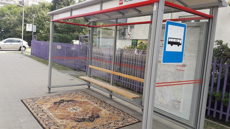 Dywan na przystanku na Gocławiu