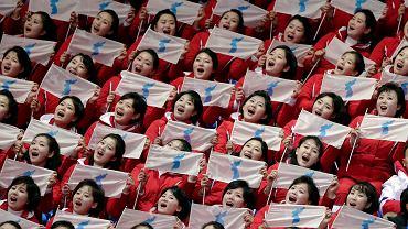 Północnokoreańskie cheerleaderki na Igrzyskach w Pjongczangu