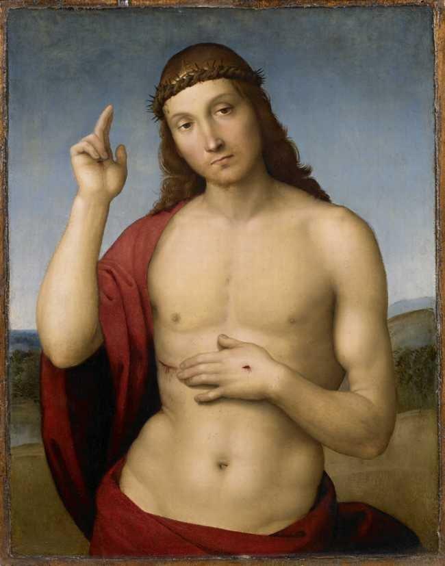 Rafael (Urbino 1483 - Rzym 1520), Chrystus błogosławiący, ok. 1505-1506, olej, deska, 31,5 × 25,5 cm / Pinacoteca Tosio Martinengo, Brescia, nr inw. 150
