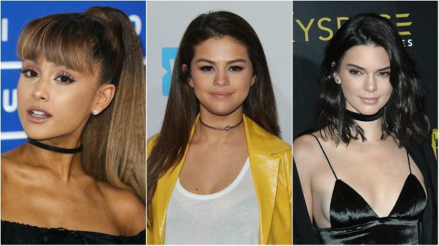 Młode gwiazdy w obróżkach: Ariana Grande, Selena Gomez, Kendall Jenner