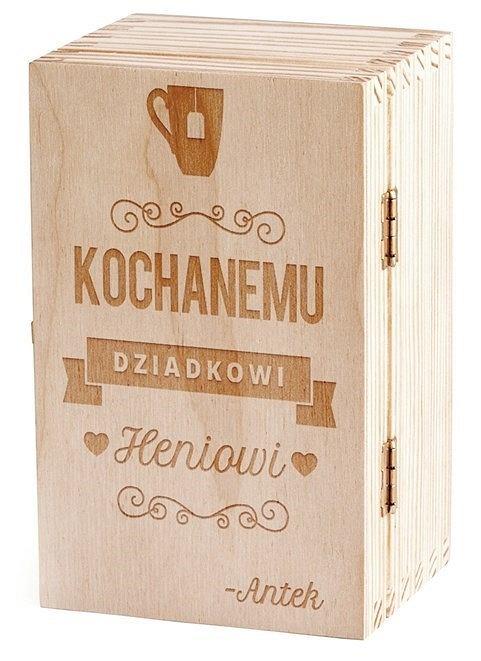 Drewniane pudełko na upominki dla dziadka