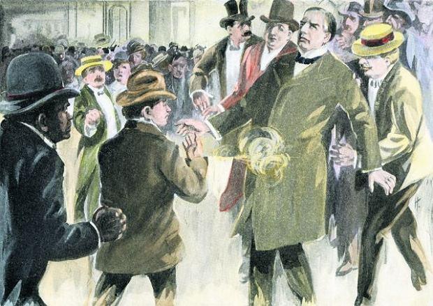 Anarchista Leon Czołgosz strzela do prezydenta USA Williama McKinleya