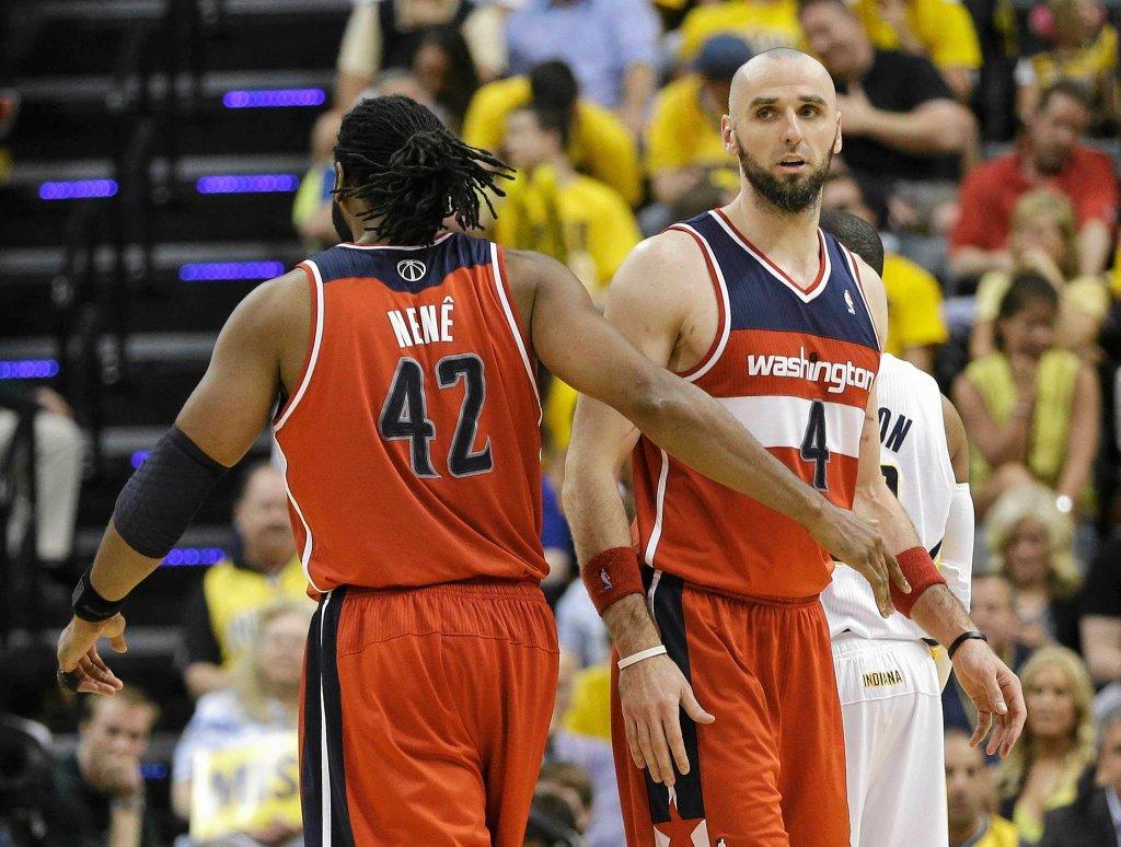 Marcin Gortat w meczu Indiana Pacers - Washington Wizards