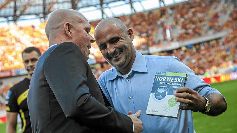 Henning Berg i Michał Probierz przed meczem