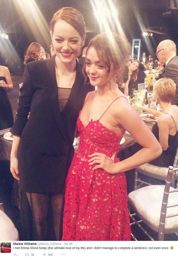 Maisie Williams i Emma Stone