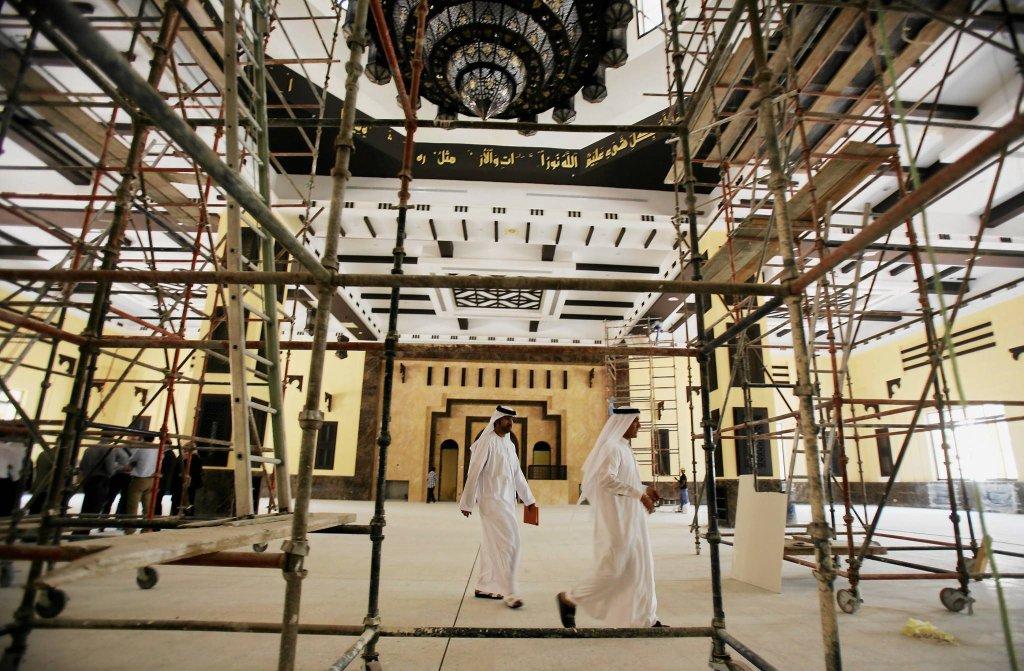 Wnętrze budowanego pierwszego na świecie eko-meczetu. Inwestycja powstaje w Dubaju