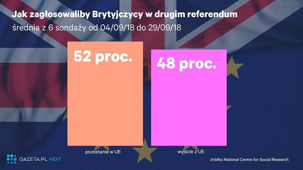 Sondaż ws. drugiego referendum o brexicie
