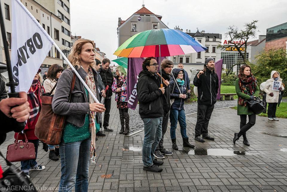 Manifestacja przeciwników powiększenia Opola