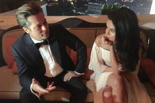 Brad Pitt i Selena Gomez na wsp�lnym zdj�ciu. W sieci huczy od plotek. Jakich? Tak, Wy pewnie te� o tym pomy�leli�cie