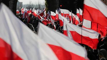 Pochód w Krakowie w dniu Święta Niepodległości