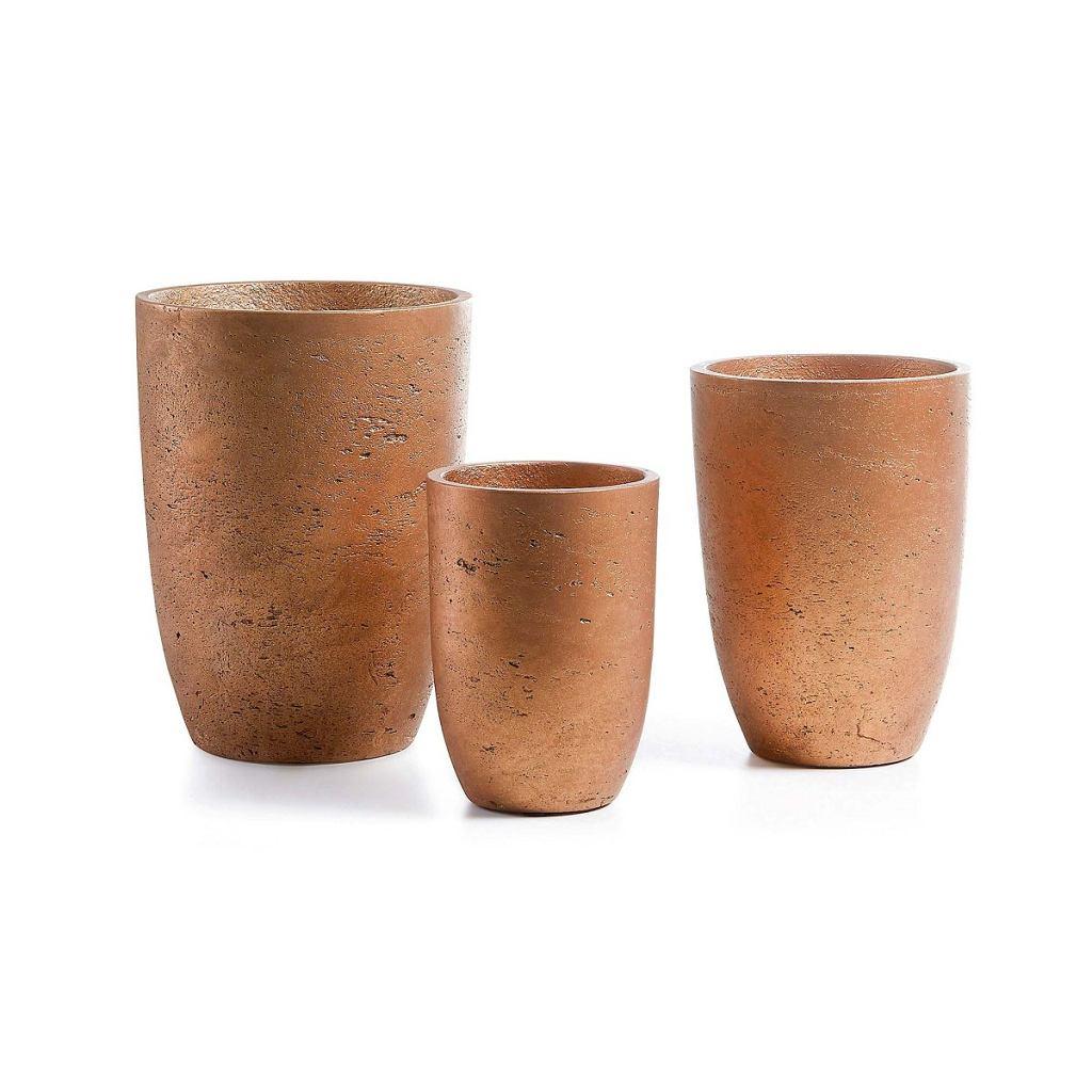 Doniczki ceramiczne, w kolorze miedzi, Lux, lepukka.pl, 124,95 zł/zestaw