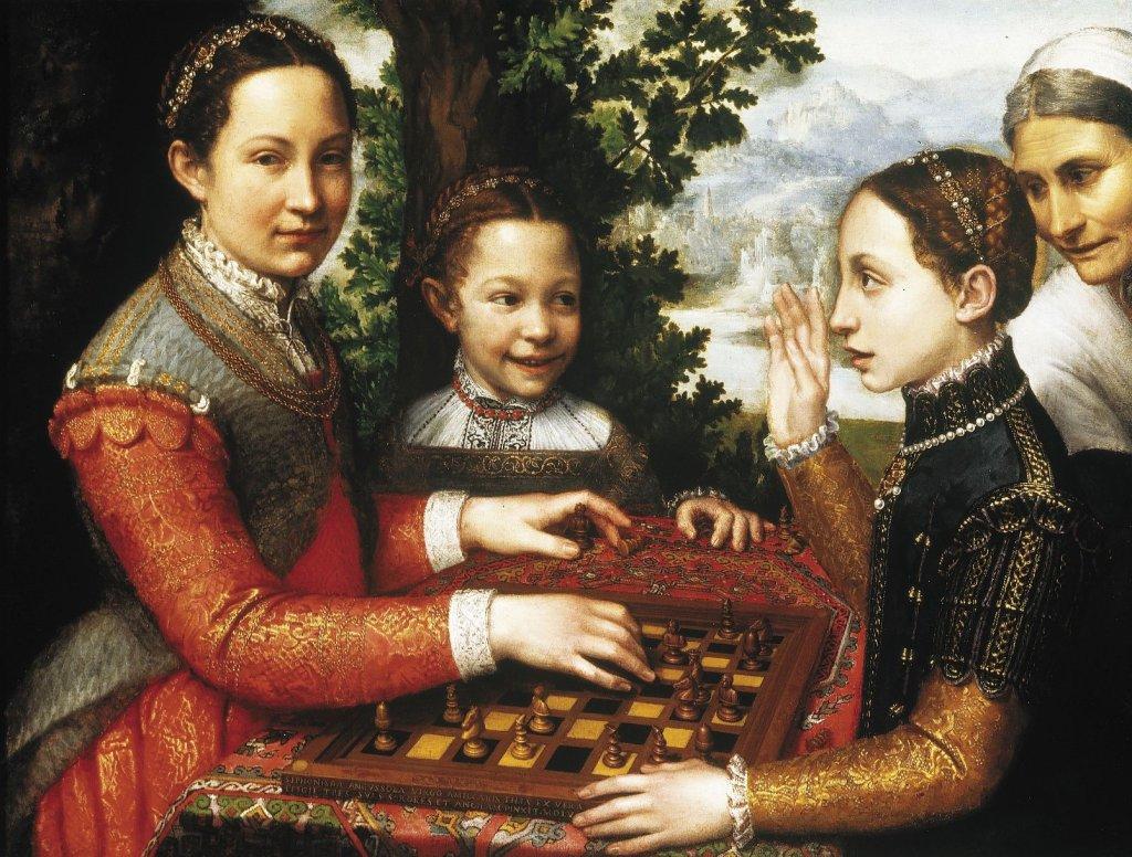 Sofonisba Anguissola, (Cremona 1532 - Palermo 1625), Gra w szachy, 1555, olej, płótno, 72 × 97 cm / Muzeum Narodowe, Poznań, nr inw. MNP FR 434