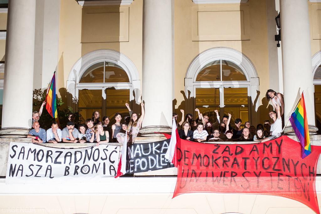 Protest studentów przeciw 'ustawie Gowina'. UW, Warszawa, 8 czerwca 2018