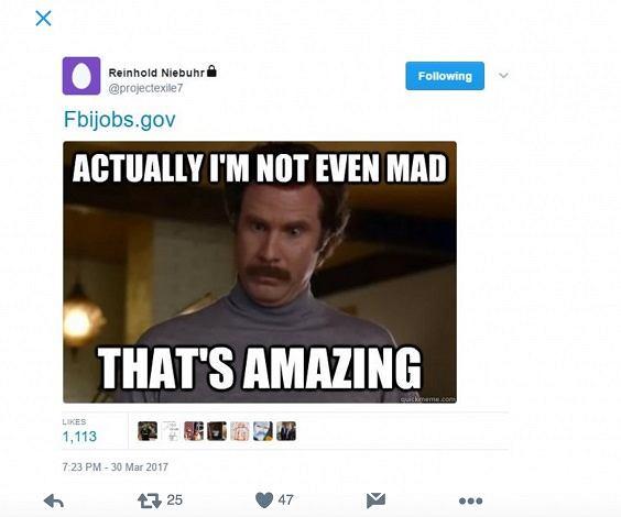 Twitt opublikowany najprawdopodobniej przez szefa FBI na należącym do niego koncie na Twitterze