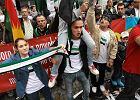 Protest przeciwko syryjskiemu reżimowi przed ambasadą Syrii przy ul. Goszczyńskiego zorganizowany przez Komitet Wsparcia Syryjskiej Rewolucji
