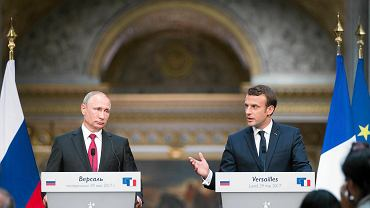Władimir Putin i Emanuel Macron w Wersalu. Oficjalna wizyta prezydenta Rosji we Francji