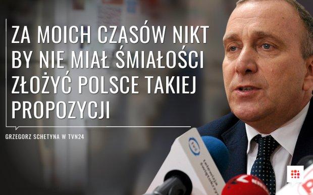 Grzegorz Schetyna o karach za nieprzyjmowanie uchod�c�w - Komisja Europejska chce, by za ka�dego odes�anego uchod�c� kraje UE p�aci�y nawet 250 tys. euro kary. - Oczywi�cie, �e si� nie zgadzam [z pomys�em KE]. Za moich czas�w nikt by nie mia� �mia�o�ci takiej propozycji z�o�y� Polsce, bo by�aby z Polsk� wcze�niej konsultowana. To jest kwestia, czy Polska jest w�r�d najwa�niejszych kraj�w UE i takie bardzo trudne propozycje by�yby konsultowane, czy te� nie - oceni� w programie