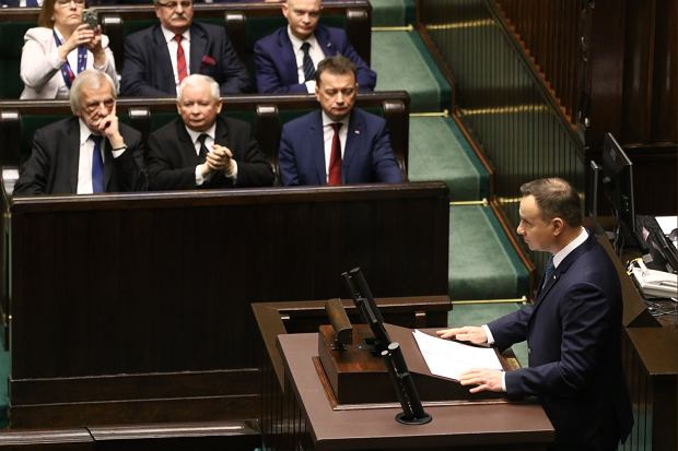 Andrzej Duda wygłasza orędzie przed Zgromadzeniem Narodowym