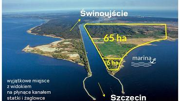 Widok na kanał prowadzący z Zalewu Szczecińskiego w kierunku Świnoujścia. Z prawej, sprzedana działka