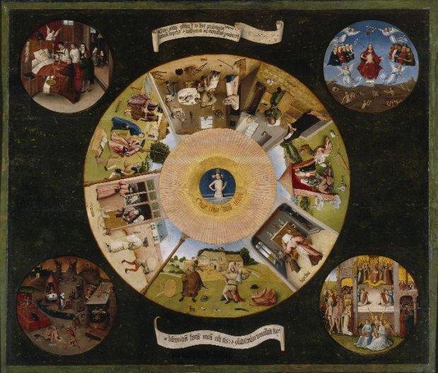 Z warsztatu Hieronima Boscha, Siedem grzechów głównych i cztery rzeczy ostateczne, pocz. XVI wieku