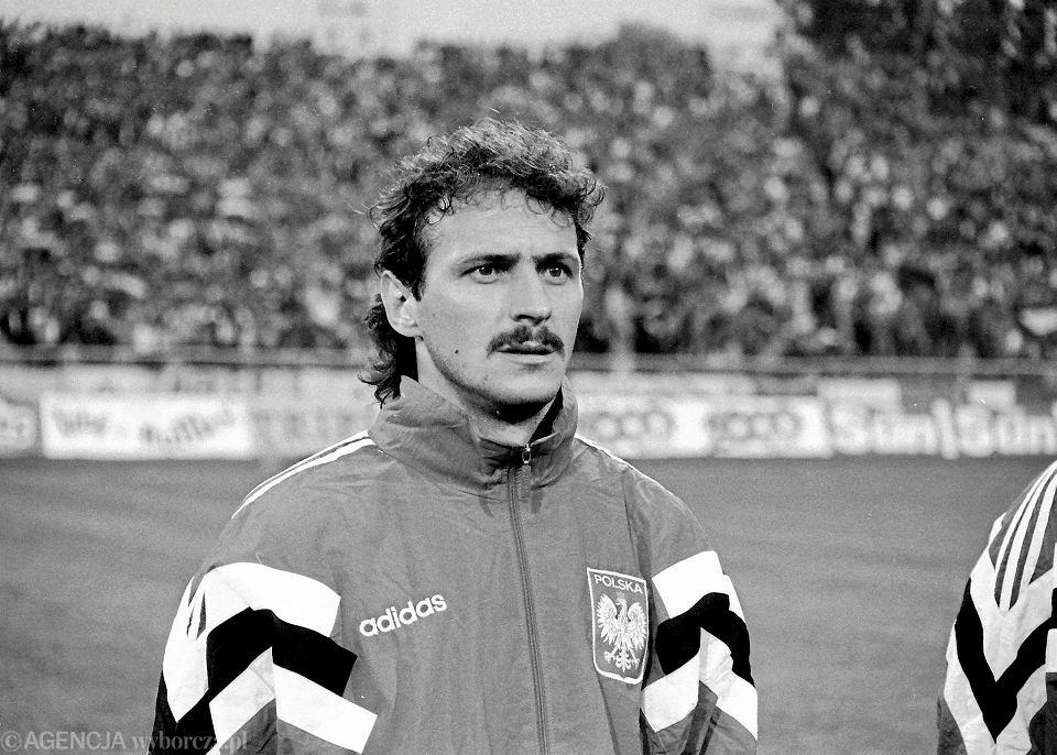 Jan Furtok na Stadionie Śląskim przed meczem z Anglią. Rok 1993.