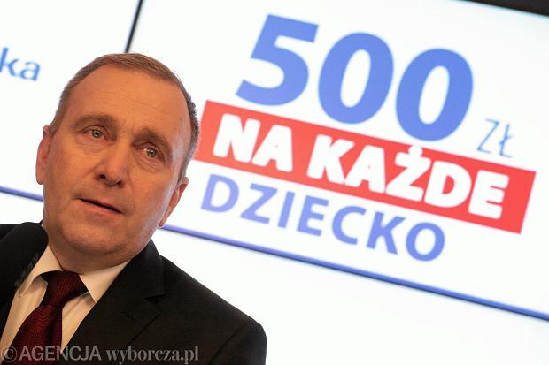 Grzegorz Schetyna podczas konferencji prasowej dotyczącej programu