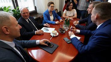 Sejmowe spotkanie opozycji ws. pisowskich ustaw ograniczających niezależność sądów, 17 lipca 2017.