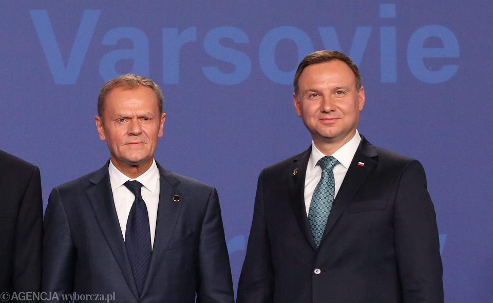 Szef Rady Europejskiej Donald Tusk Andrzej Duda i podczas szczytu NATO w Warszawie