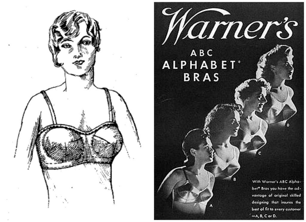 W dobieraniu biustonoszy do dziś stosuje się alfabet opracowany przez Warnera w latach 30. XX wieku (fot. V Christoff / Wikimedia.org / Domena publiczna / Warner's / Wikimedia.org / Domena publiczna)