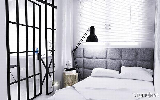 aranżacja wnętrz, kawalerka, sypialnia