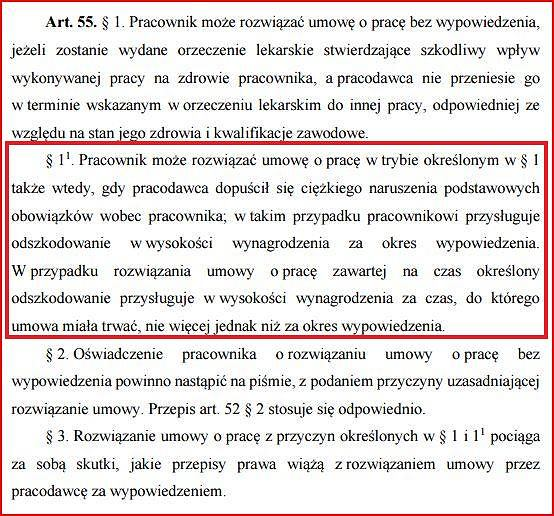 art. 55 Kodeksu Pracy