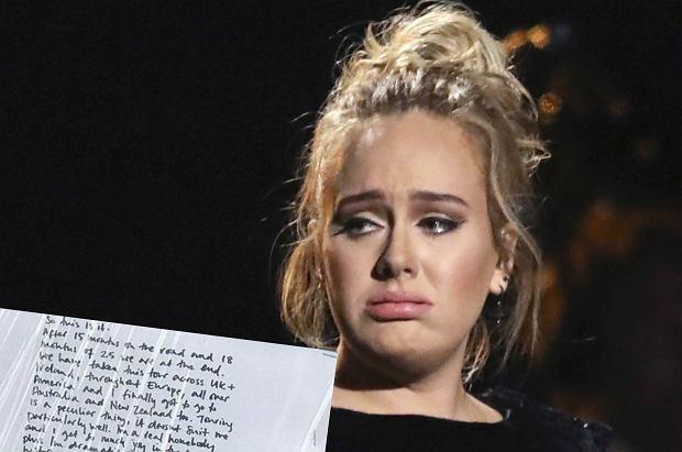 Adele być może już nigdy więcej nie ruszy w trasę koncertową. Z notatki piosenkarki wynika, że nie czuje się na siłach kiedykolwiek znów jeździć z koncertami po świecie.