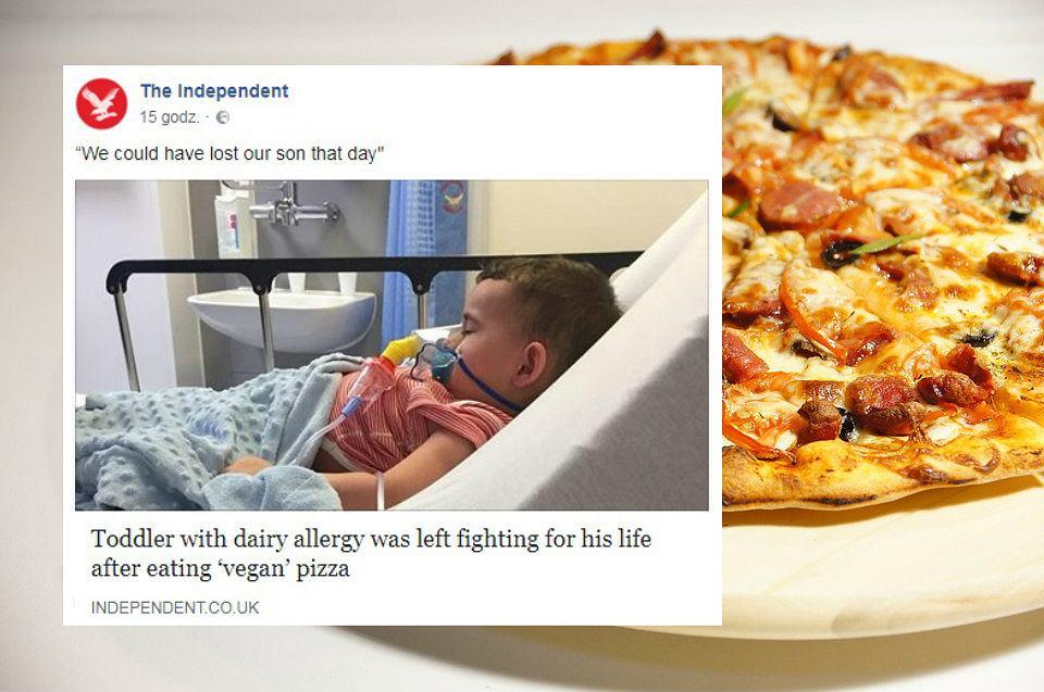 2-latek trafił do szpitala z zagrożeniem życia po zjedzeniu 'wegańskiej' pizzy