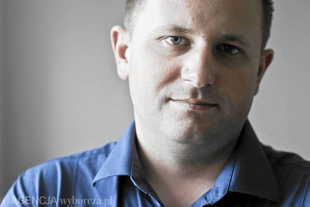 Prezes Zarz�du Amber Gold Marcin Plichta w centrali firmy, 9 sierpnia 2012 r.