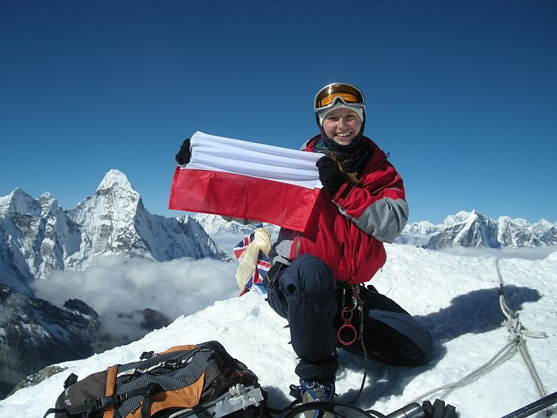 Bogumiła Raulin na szczycie Island Peak