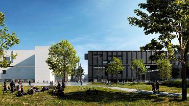 Nowa wizualizacja Muzeum Sztuki Nowoczesnej w Warszawie: po lewej biały budynek muzeum, po prawej czarna bryła teatru