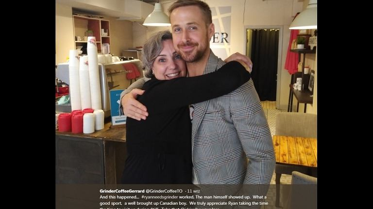 Ryan Gosling odwiedził Grinder Coffee w Toronto