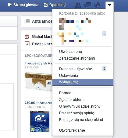 Przycisk Wyloguj na Facebooku
