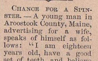 Ogłoszenie matrymonialne z 1865 roku.