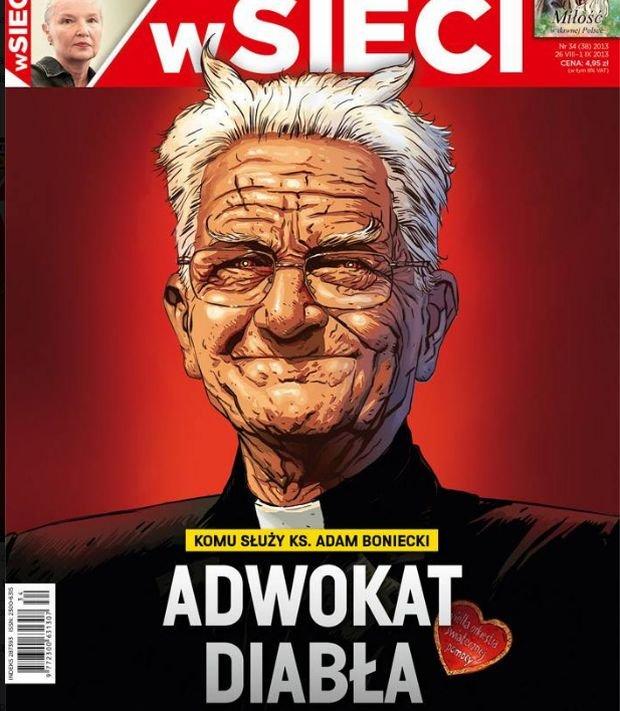 """Ks. Boniecki jako """"Adwokat diab�a"""" na ok�adce """"wSieci"""". Naczelny """"TP"""": Prawicowy tabloid"""