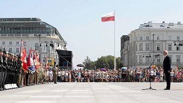 1 sierpnia 2017 , plac Piłsudskiego. Minister Obrony Narodowej Antoni Macierewicz podczas obchodów 73. rocznicy Powstania Warszawskiego