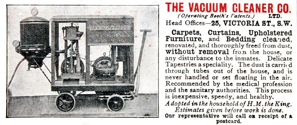 Mało kto kupował drogie i wielkie odkurzacze, ale działały firmy, które je wynajmowały. Na ilustracji reklama takiej brytyjskiej wypożyczalni z początku XX w.  (fot. Wikimedia.org / Domena publiczna)