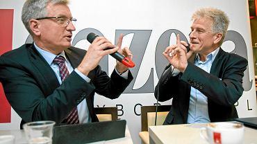 Debata kandydatów na prezydenta Poznania w 2014 r. Jacek Jaśkowiak i Ryszard Grobelny