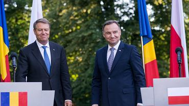Prezydent Andrzej Duda z prezydentem Rumunii Klausem Iohannisem, Warszawa, 7 czerwca 2018.