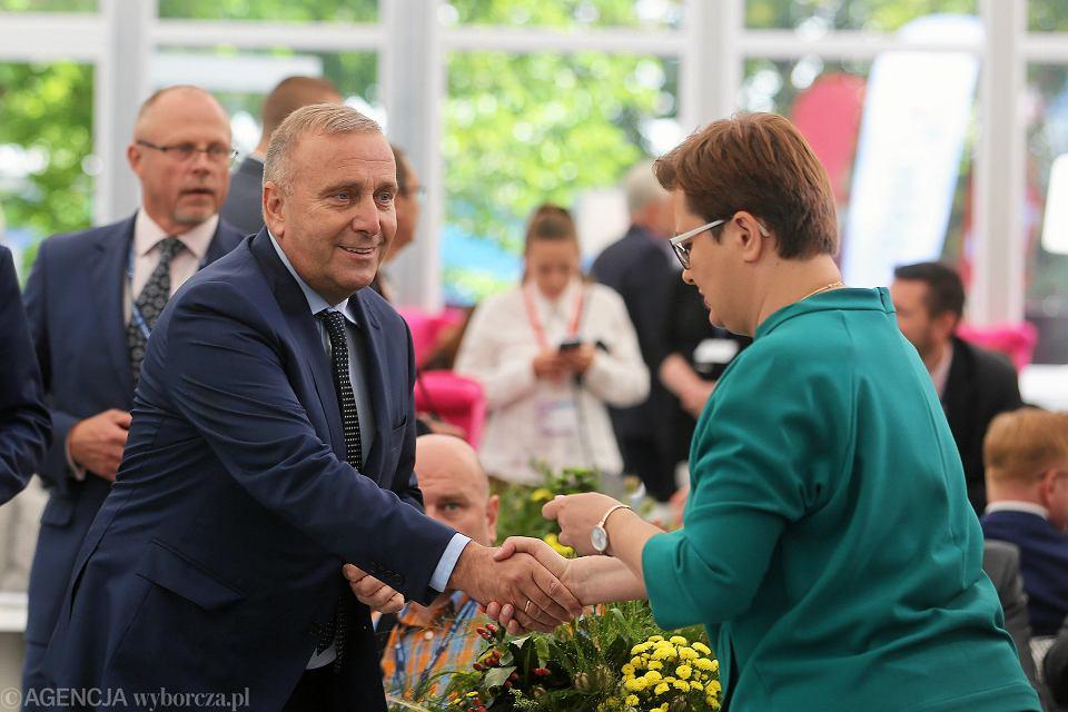 Przewodniczący Platformy Obywatelskiej Grzegorz Schetyna (l) i szefowa Nowoczesnej Katarzyna Lubnauer podczas XXVIII Forum Ekonomicznego. 5 września 2018