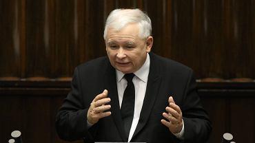 Jarosław Kaczyński podczas środowego wystąpienia w Sejmie