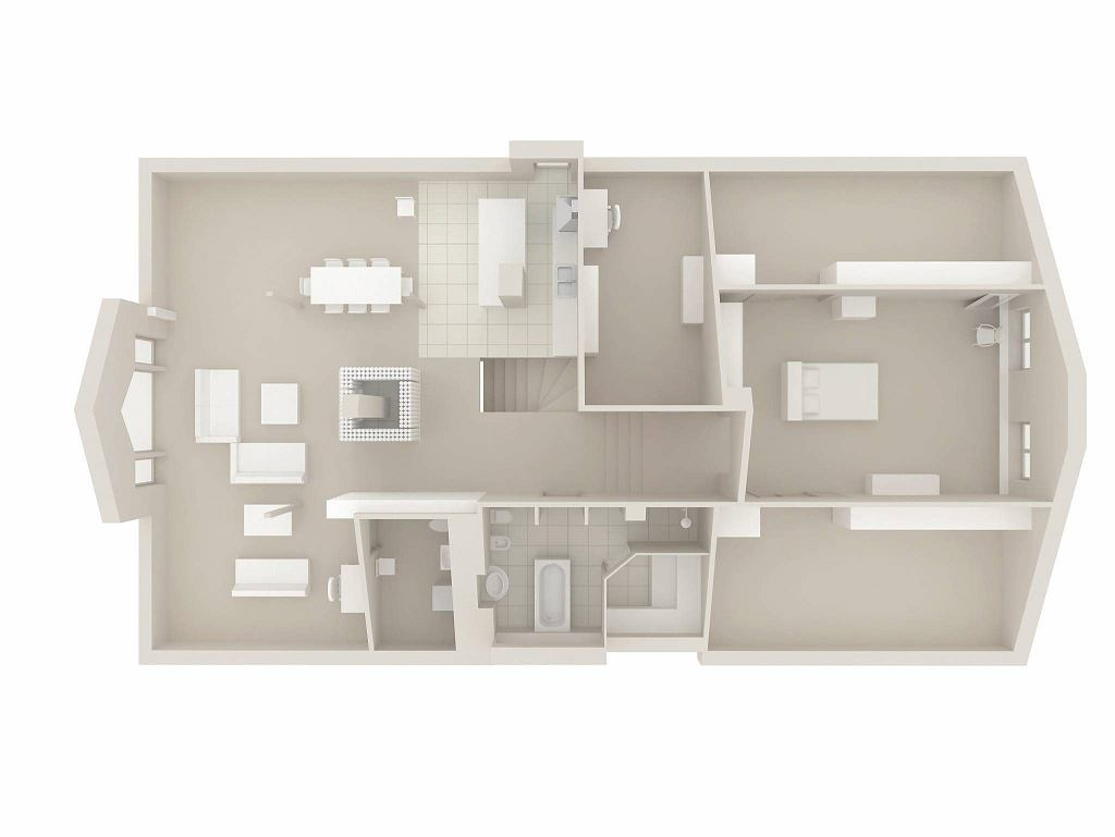 8d41d416f955 Mieszkanie zaaranżowane wokół kominka