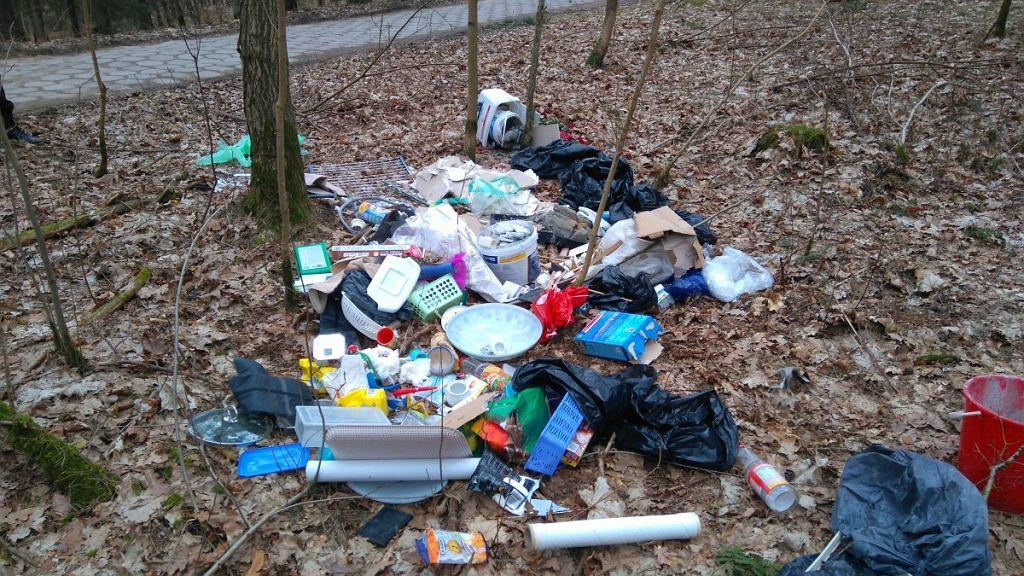 Śmieci wyrzucone w lesie w Kieźlinach